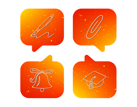 Graduation cap, pen and bell icons. Safety pin linear signs. Orange Speech bubbles with icons set. Soft color gradient chat symbols. Vector Vettoriali