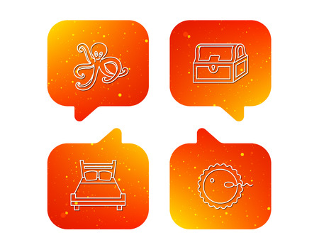 Fertilization, double bed and octopus icons. Treasure chest linear signs. Orange Speech bubbles with icons set. Soft color gradient chat symbols. Vector