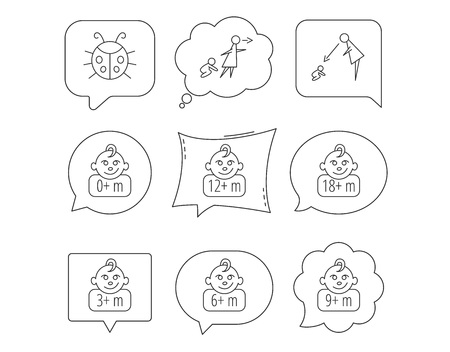 Infant child, ladybug and toddler baby icons. 0-18 months child linear signs. Unattended, parents supervision icons. Linear Speech bubbles with icons set. Comic chat balloon. Vector Ilustração