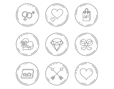 Love heart, gift box and wedding rings icons. Bow and engagement linear signs. Valentine amour arrows, brilliant flat line icons. Linear Circles web buttons with icons. Vector Illustration