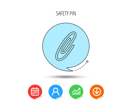 Safety pin icon. Paperclip sign. Calendar, User and Business Chart, Download arrow icons. Speech bubbles with flat signs. Vector