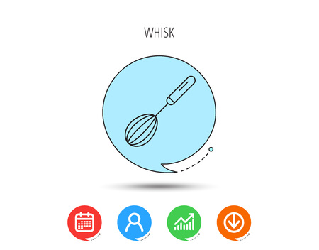 Whisk icon. Kitchen tool sign. Kitchenware whisking beater symbol. Calendar, User and Business Chart, Download arrow icons. Speech bubbles with flat signs. Vector