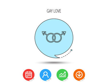 Gay couple icon. Homosexual sign. Calendar, User and Business Chart, Download arrow icons. Speech bubbles with flat signs. Vector Illustration