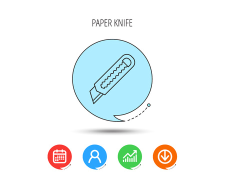 Paper knife icon. Cutter tool sign. Calendar, User and Business Chart, Download arrow icons. Speech bubbles with flat signs. Vector Stock Illustratie