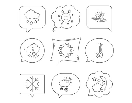 Weather, sun and rain icons. Moon night, clouds and mist linear signs. Wind and snowflakes flat line icons. Linear Speech bubbles with icons set. Comic chat balloon. Vector