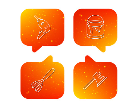 Drill tool, bucket of paint and axe icons. Brush linear sign. Orange Speech bubbles with icons set. Soft color gradient chat symbols. Vector