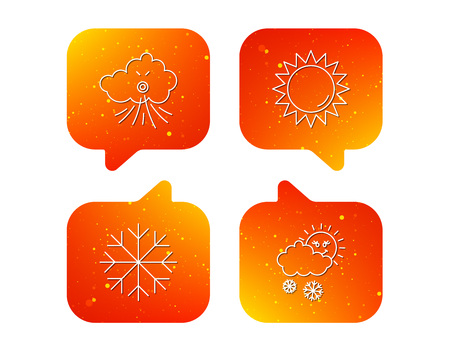 Weather, sun and snow icons. Wind and snowflake linear signs. Orange Speech bubbles with icons set. Soft color gradient chat symbols. Vector Çizim