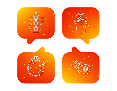 Race, traffic lights and speed icons. Bucket with foam, fire wheel linear signs. Orange Speech bubbles with icons set. Soft color gradient chat symbols. Vector