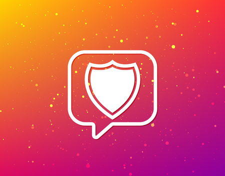 Shield protection icon. Defense equipment symbol. Soft color gradient background. Speech bubble with flat icon. Vector