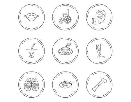 Eye, neurology brain and vein varicose icons. Wheelchair, bone fracture and trichology linear signs. Weight loss, lips and surgical lamp icons. Linear Circles web buttons with icons. Vector
