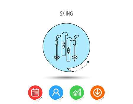 Skiing icon. Ski and sticks sign. Calendar, User and Business Chart, Download arrow icons. Speech bubbles with flat signs. Vector