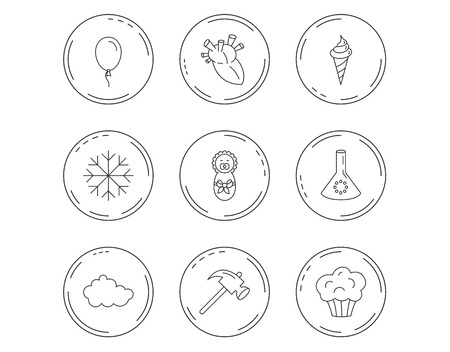 Newborn, heart and lab bulb icons. Ice cream, muffin and air balloon linear signs. Cloud and snowflake flat line icons. Linear Circles web buttons with icons. Vector Illusztráció