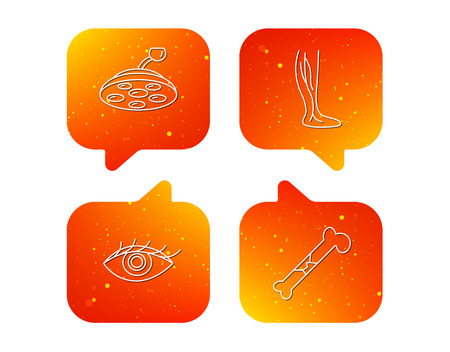 Eye, bone fracture and vein varicose icons. Surgical lamp linear sign. Orange Speech bubbles with icons set. Soft color gradient chat symbols. Vector
