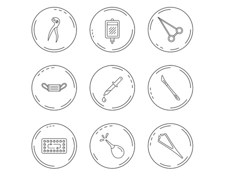 Medical mask, blood and dental pliers icons. Contraception, scalpel and clyster linear signs. Tweezers, pipette and forceps flat line icons. Linear Circles web buttons with icons. Vector