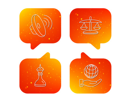 Strategy, sound and scales of justice icons. Save planet linear sign. Orange Speech bubbles with icons set. Soft color gradient chat symbols. Vector  イラスト・ベクター素材