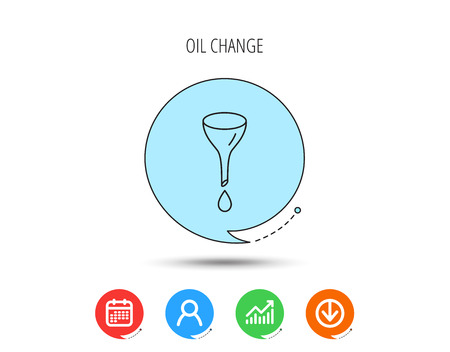 Oil change service icon. Fuel can with drop sign. Calendar, User and Business Chart, Download arrow icons. Speech bubbles with flat signs. Vector
