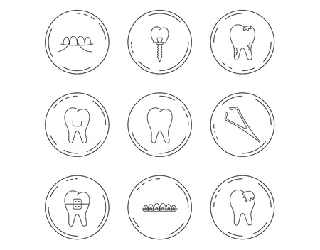 Dental implant, floss and tooth icons. Braces, fillings and tweezers linear signs. Caries icon. Linear Circles web buttons with icons. Vector