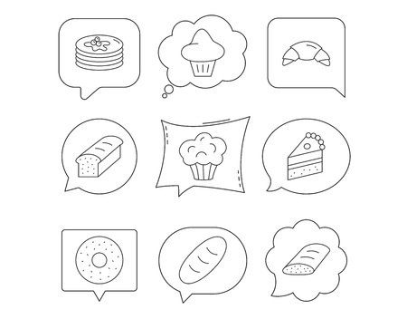 Croissant, cake and bread icons. Muffin, brioche and sweet donut linear signs. Pancakes with syrup flat line icons. Linear Speech bubbles with icons set. Comic chat balloon. Vector
