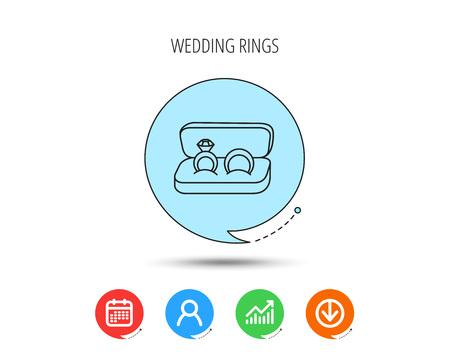 Wedding rings icon. Jewelry with diamond sign. Marriage symbol. Calendar, User and Business Chart, Download arrow icons. Speech bubbles with flat signs. Vector