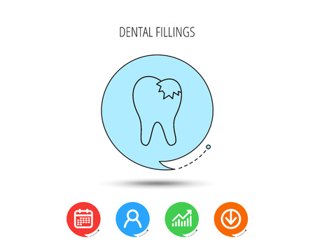 Dental fillings icon. Tooth restoration sign. Calendar, User and Business Chart, Download arrow icons. Speech bubbles with flat signs. Vector