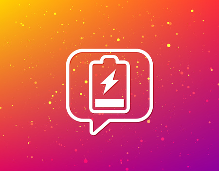 Battery power icon. Charging accumulator symbol. Soft color gradient background. Speech bubble with flat icon. Vector