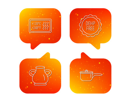 Saucepan, vase and heat-resistant icons. DEHP free linear sign. Orange Speech bubbles with icons set. Soft color gradient chat symbols. Vector
