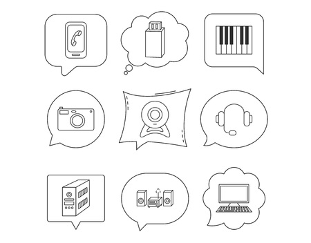 Photo camera, headphones and Usb flash icons. PC case, computer with monitor and web camera linear signs. Piano icons. Linear Speech bubbles with icons set. Comic chat balloon. Vector