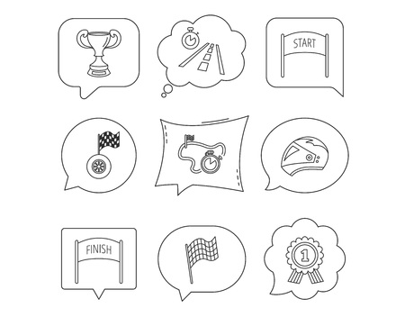 Winner cup and award icons. Race flag, motorcycle helmet and timer linear signs. Road travel, finish and start flat line icons. Linear Speech bubbles with icons set. Comic chat balloon. Vector Illustration