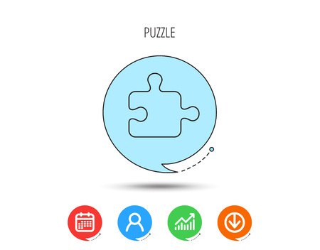 Puzzle icon. Jigsaw logical game sign. Boardgame piece symbol. Calendar, User and Business Chart, Download arrow icons. Speech bubbles with flat signs. Vector Ilustração