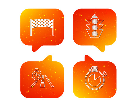 Checkpoint, traffic lights and timer icons. Travel time, road linear signs. Orange Speech bubbles with icons set. Soft color gradient chat symbols. Vector Illustration