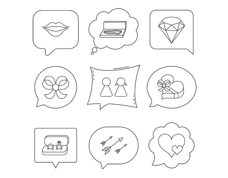 Love heart, gift box and wedding rings icons. Kiss lips and couple linear signs. Valentine amour arrows, brilliant flat line icons. Linear Speech bubbles with icons set. Comic chat balloon. Vector Stock Illustratie