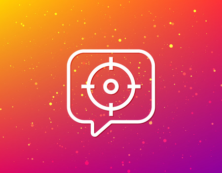 Target icon. Crosshair aim symbol. Soft color gradient background. Speech bubble with flat icon. Vector