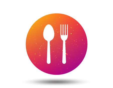 Food icons. Fork and spoon signs. Cutlery symbol. Circle button with Soft color gradient background. Vector