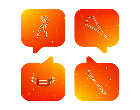 Medical mask, scalpel and dental pliers icons. Eyebrow tweezers linear sign. Orange Speech bubbles with icons set. Soft color gradient chat symbols. Vector