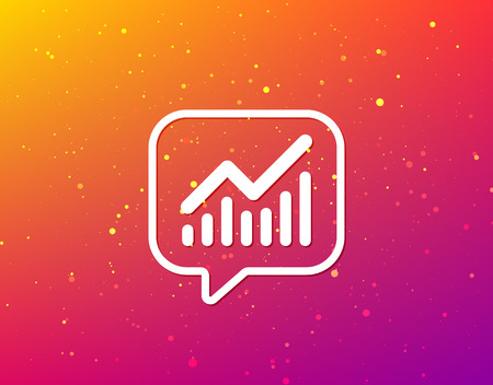 Graph icon. Business analytics chart symbol. Soft color gradient background. Speech bubble with flat icon. Vector