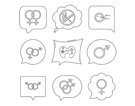 No smoking, family planning and game joystick icons. Male, female and couple linear signs. Gay, love icons. Linear Speech bubbles with icons set. Comic chat balloon. Vector