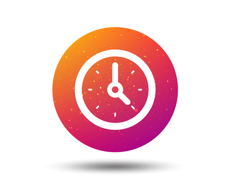 Clock icon. Mechanical watch symbol. Circle button with Soft color gradient background. Vector  イラスト・ベクター素材
