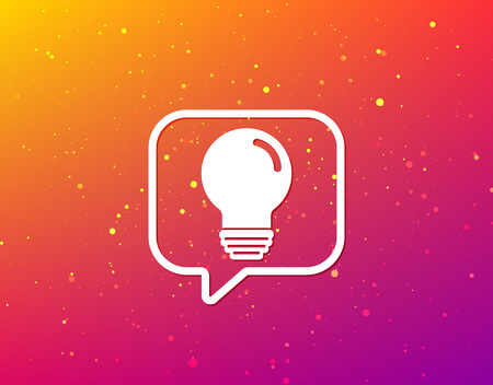 Light bulb icon. Lamp sign. Illumination technology symbol. Soft color gradient background. Speech bubble with flat icon. Vector