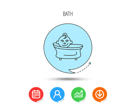 Baby in bath icon. Toddler bathing sign. Newborn washing symbol. Calendar, User and Business Chart, Download arrow icons. Speech bubbles with flat signs. Vector