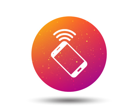 Cellphone icon. Mobile phone communication symbol. Circle button with Soft color gradient background. Vector  イラスト・ベクター素材