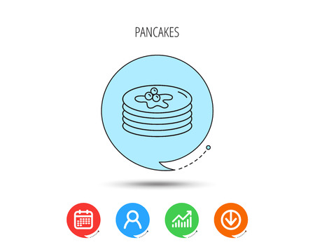 Pancakes icon. American breakfast sign. Food with maple syrup symbol. Calendar, User and Business Chart, Download arrow icons. Speech bubbles with flat signs. Vector