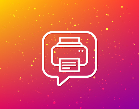 Printer icon. Print documents technology symbol. Soft color gradient background. Speech bubble with flat icon. Vector