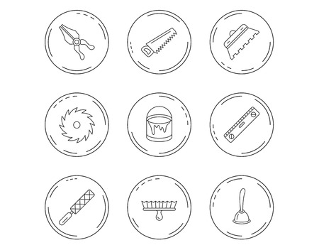 Trowel for tile, saw and brush tool icons. Level and file tool, bucket of paint linear signs. Plunger, pliers icons. Linear Circles web buttons with icons. Vector
