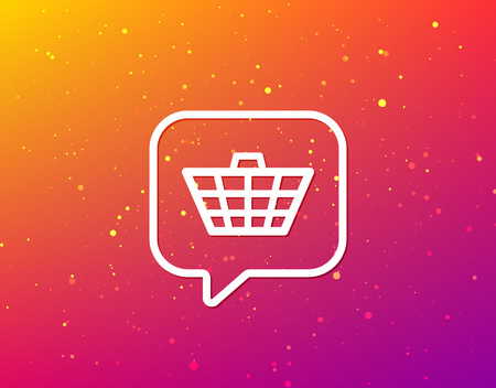 Basket icon. Shopping cart symbol. Soft color gradient background. Speech bubble with flat icon. Vector