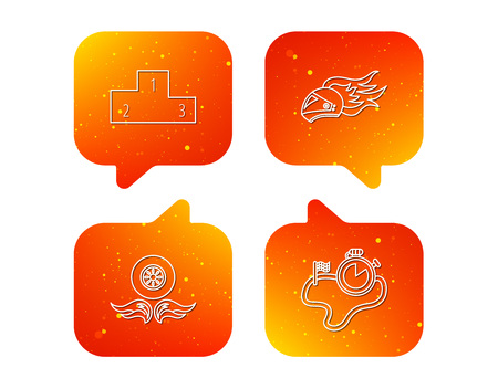 Winner podium, race timer and wheel on fire icons. Motorcycle helmet on fire linear sign. Orange Speech bubbles with icons set. Soft color gradient chat symbols. Vector