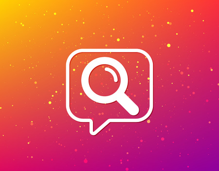 Magnifier icon. Search magnifying glass symbol. Soft color gradient background. Speech bubble with flat icon. Vector  イラスト・ベクター素材