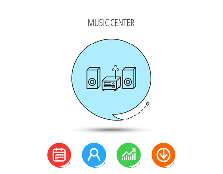 Icono del centro de música. Señal del sistema estéreo. Calendario, gráfico de usuario y negocio, descargar iconos de flecha. Burbujas de discurso con signos planos. Vector