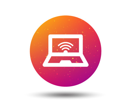 Computer with wifi icon. Notebook or laptop pc symbol. Circle button with Soft color gradient background. Vector