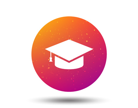 Education icon. Graduation cap symbol. Circle button with Soft color gradient background. Vector