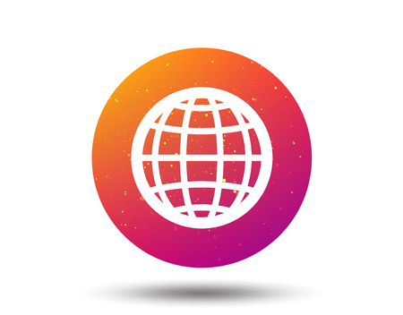 Globe icon. World or internet symbol. Circle button with Soft color gradient background. Vector  イラスト・ベクター素材